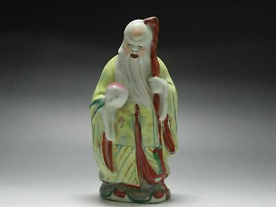 Chinese old Famille Rose porcelain Carving Longevity god immortal Peaches Statue