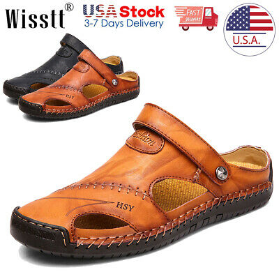 Men/'s Outdoor Hiking Genuine Leather Sandals Summer Camping Fisherman Shoes RWBN