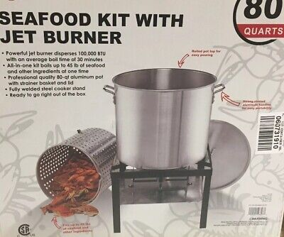 Gourmet 80 QT Propane Crawfish Lowcountry Boil Jet Cooker Kit with Strainer