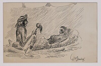 Native American Ink Drawing by William Standing / Plains Indian - Montana 1940