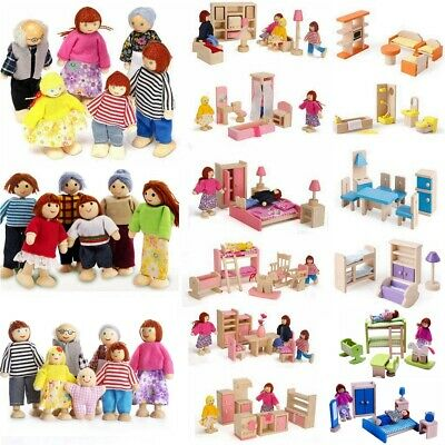 Kids Wooden Furniture Dolls House Miniature 6 Room Set Doll Play Games Toys Gift