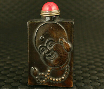 Fortune rare chinese old yak horn buddha hand piece statue Snuff bottle