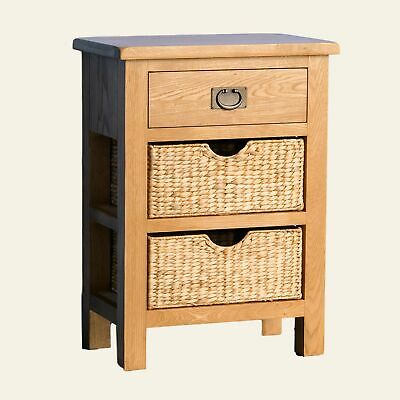Rustic Oak Telephone Table Baskets Hallway Console Wood Drawer Small Hall Unit