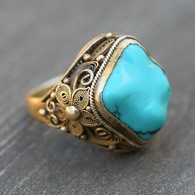 Antique chinese filigree handmade sterling silver ring with natural Turquoise