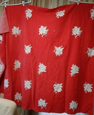 """Vintage Mid Century Wilendur? Red Tablecloth Gray & White Roses 64""""x 54 Cutter"""""""