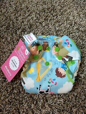 NWT, limited edition, Blueberry Simplex Newborn AIO Cloth Diaper, jack and bean