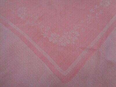 Vintage Mid-Century 1940s? Pink White Flowers Floral Damask Tablecloth 54 x 56