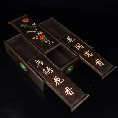 Chinese Old rosewood hand carved Build Jewelry Box 三开抽拉盒