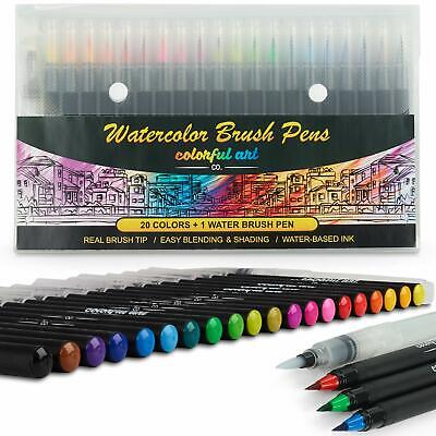 Brush Pens Set Vibrant Soft Watercolour Tip Paint Markers Artist Art N Craft x20