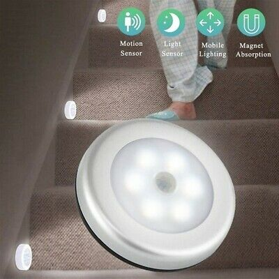 1X LED Motion Sensor Night Light Indoor Outdoor Battery Operated Stairs Hallway