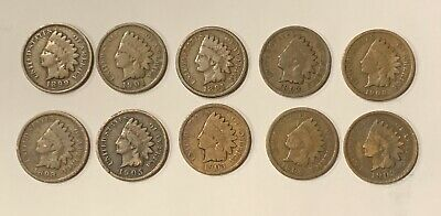 LOT OF 25 Coins Mixed Indian Head Cent Pennies in Average Circ 1800/'S 1900/'s