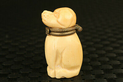 chinese rare old yak horn hand carved dog statue snuff box table decorate