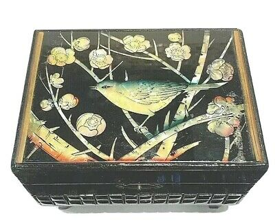 Antique Chinese Handmade  Wood Lacquered Mother Of Pearl Jewelry Box Stamped