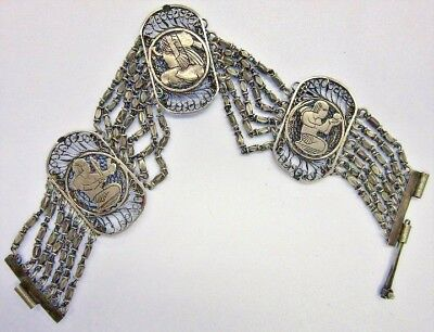 Vintage~Egyptian Revival~Silver Chain link Bracelet~Ancient Figures~Pharaoh~Tut