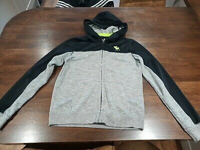 Boys Abercrombie and Fitch A&F Hoodie Jacket - Black & Grey - Age 13 - 14 Yrs