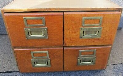 "4 Drawer Antique Quartersawn Oak 8"" Card File Cabinet Dovetailed Top 18 1/2""X15"""