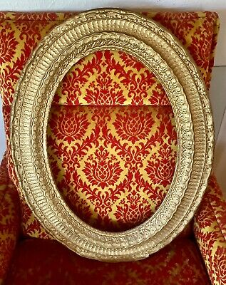 vintage antique gold oval gesso carved picture frame ornate wood wooden