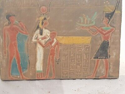 Rare Antique Ancient Egyptian Stela Goddess Isis Universe Boat Health1525–1504BC