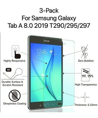 """3 Pack Tempered Glass Screen Protector  For Galaxy Tab A 8.0"""" 2019 SM-T290/T295"""