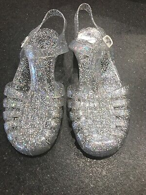 Next Girls Clear Glittery Jelly Shoes Sandals Size UK 3