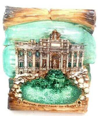 Trevi Fountain in Rome Souvenir 3-D Scroll Plaque Made in Italy