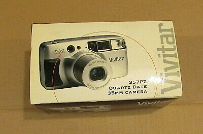 Vintage 1999 Vivitar 357PZ Quartz Date 35mm Camera with Box and Papers FREE S/H