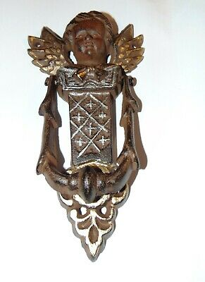 "Vintage Angel Door Knocker 8"" Cast Iron Cherub Wings"