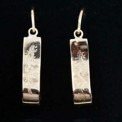 Victorian 14K Solid Bright Rose Gold Fancy Etched Design Ladies Earrings
