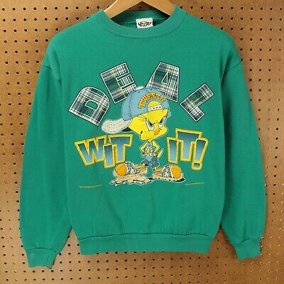 vtg 1996 LOONEY TUNES sweatshirt LARGE tweety 90s hip hop rap tees deal with it