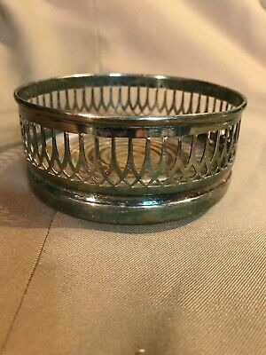 Vintage Glass Bottle Coaster + Silver Plated Copper + Made in England