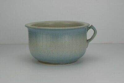 Antique Ruckles White Hall Pottery Blue Fence Sawtooth Chamber Pot