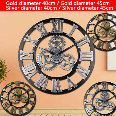 Art Vintage Round Wooden Wall Clock Retro Wood Steampunk Skeleton Home Decor UK