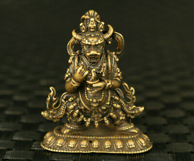 Chinese old copper hand tibet buddha statue netsuke blessing decoration gift