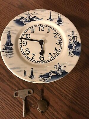 Delft Wall Clock, Perfect time keeper, Pendulum & Key included