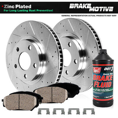 Front Gold Hart Drilled Slotted Brake Rotors Disc and Ceramic Pad Alero,Grand Am