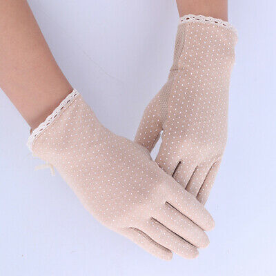 Women's Sexy Lace Gloves Vintage Sunscreen UV-Proof Driving Mittens Multi Colors
