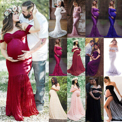 Women Pregnant Maternity Lace Long Dress Maxi Gown Prom Photography Props Shoot