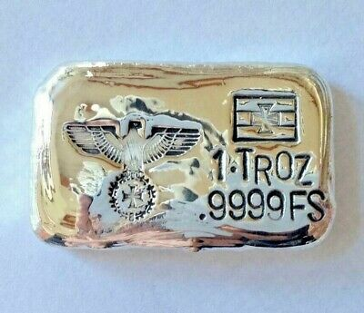 FreeGift too + 1oz SILVER hand poured bar 9999 Imperial German Eagle iron cross
