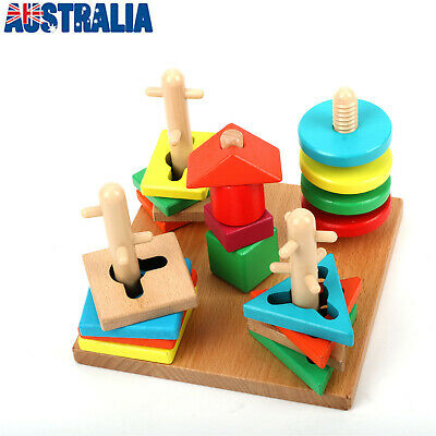 Toddler Kids Baby Montessori Toys Wood Tetris Puzzle Stacking Blocks Wooden Toys