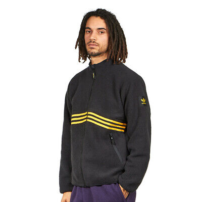 adidas - Sherpa Full Zip Jacket Black / Active Gold Sweatjacke