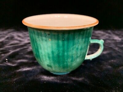 "Antique Chinese green glazed 2.75"" porcelain cup Qing  wax seal of authenticity"