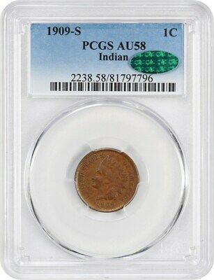 1909-S Indian 1c PCGS/CAC AU58 - Key Date - indian Cent - key date