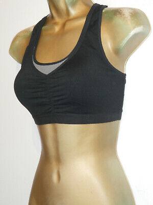 Black Marks And Spencer Racer Back Crop Sports Gym Fitness Top Size 34C/D