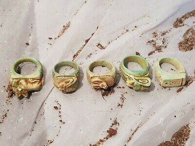 Rare Antique Ancient Egyptian 5 Rings Amulet Protection Gods Cat Lion1780-1670BC