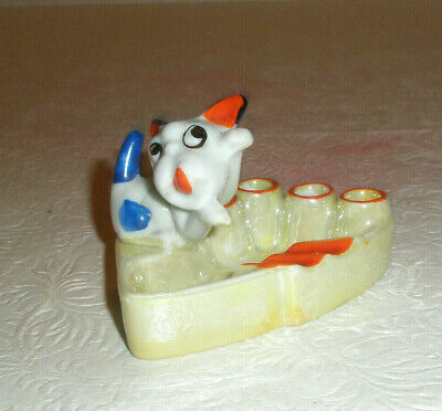 Vintage Ashtray Cigarette Holder Spotted Dog Luster Finish Japan