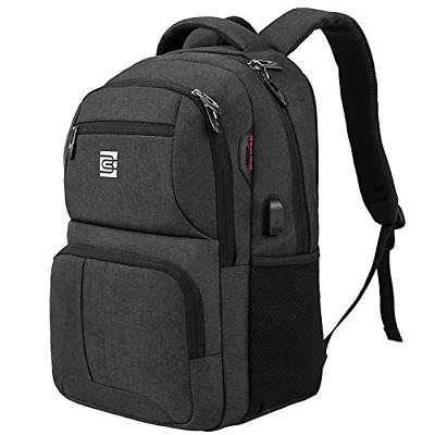 Durable College Schoolbags with USB Charging Port Black Naican Business Travel Laptop Backpack Water Resistant Fits 15.6 Inch Laptop and Notebook