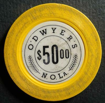 Vintage O'Dwyer's $50.00 Illegal Casino Gambling Chip New Orleans Louisiana
