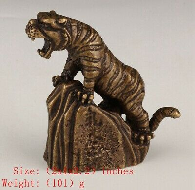 Rare Chinese Bronze Animal Tiger Solid Mascot Collection Gifts Old