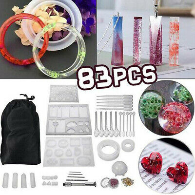 83 Pieces Of Diy Crystal Epoxy Glue Kit Pendant Jewelry Silicone Mold g0likes