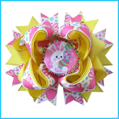 """16 BLESSING Girl 4.5"""" Easter Hair Bow Clip Colorful Rabbit Chicken Egg Baby"""